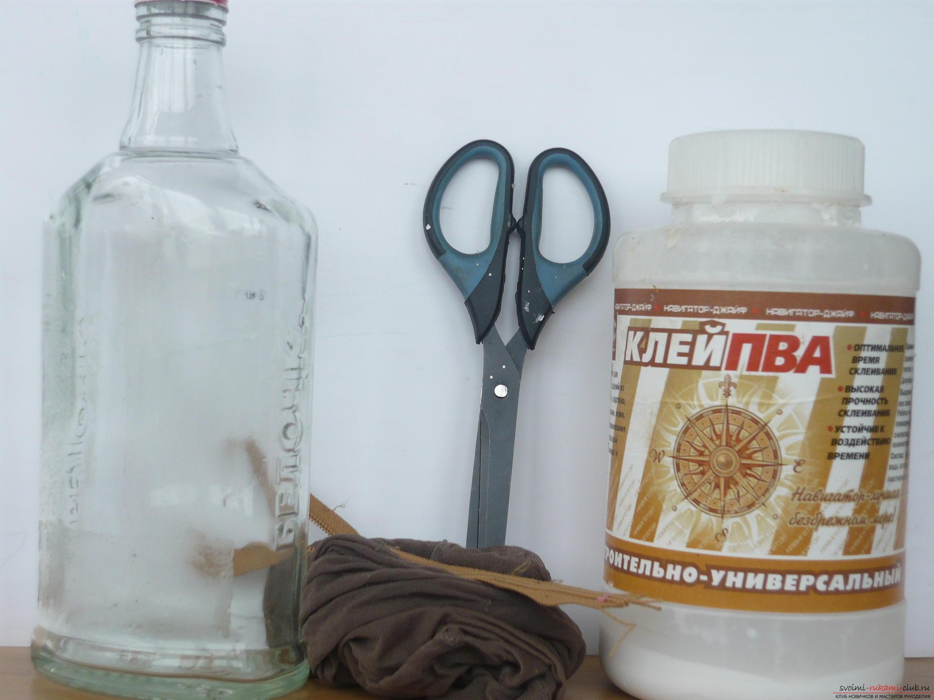 Декор бутылок колготками своими руками