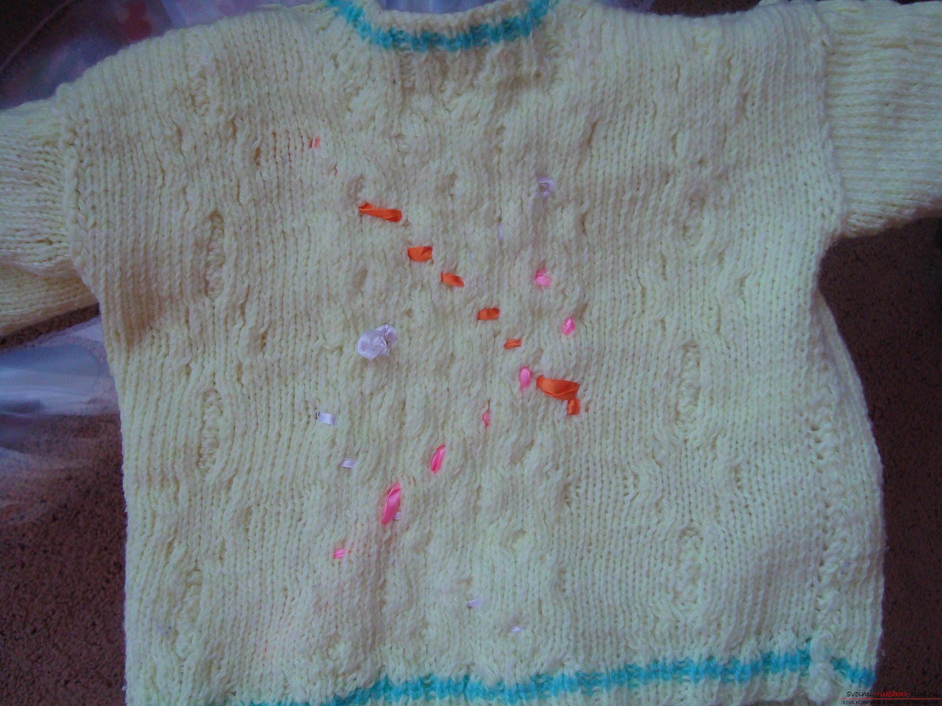 Пошаговая фото-инструкция по вязанию детского свитера на спицах. Фото №11