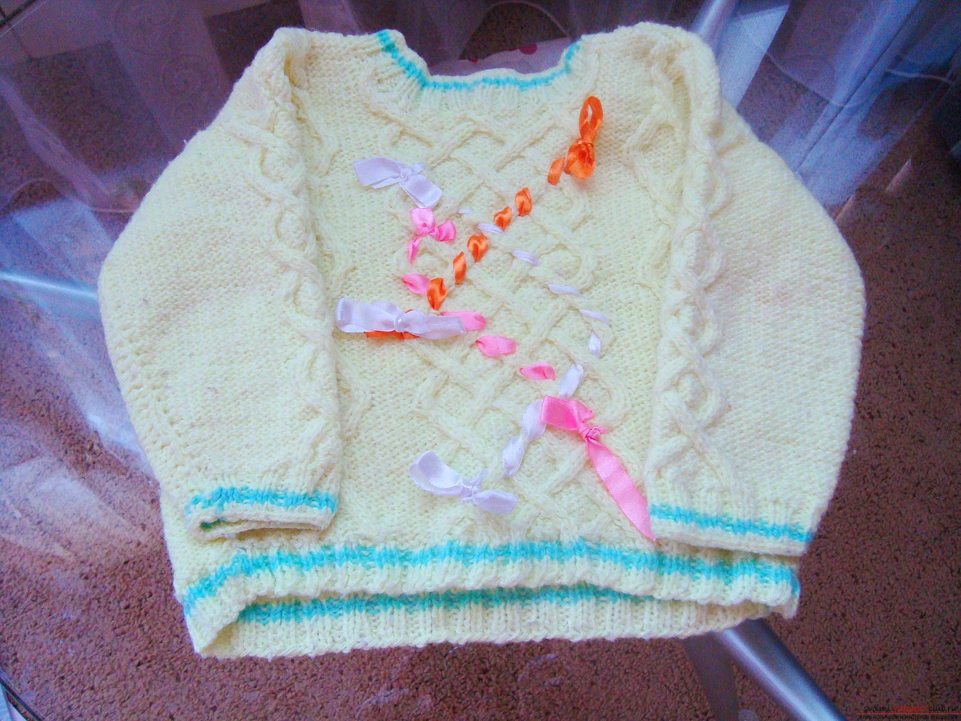 Пошаговая фото-инструкция по вязанию детского свитера на спицах. Фото №1