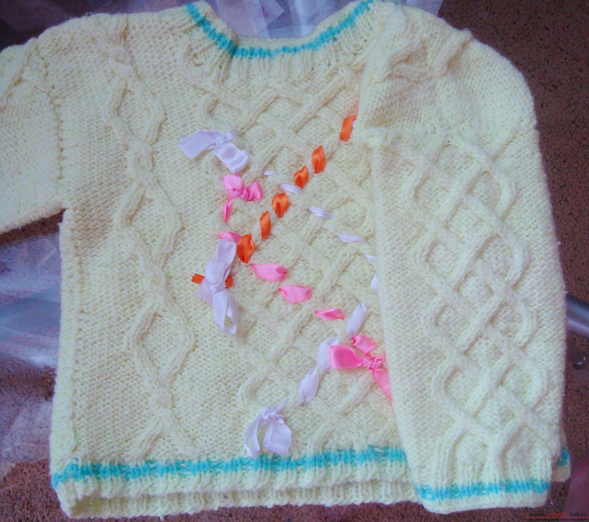 Пошаговая фото-инструкция по вязанию детского свитера на спицах. Фото №12