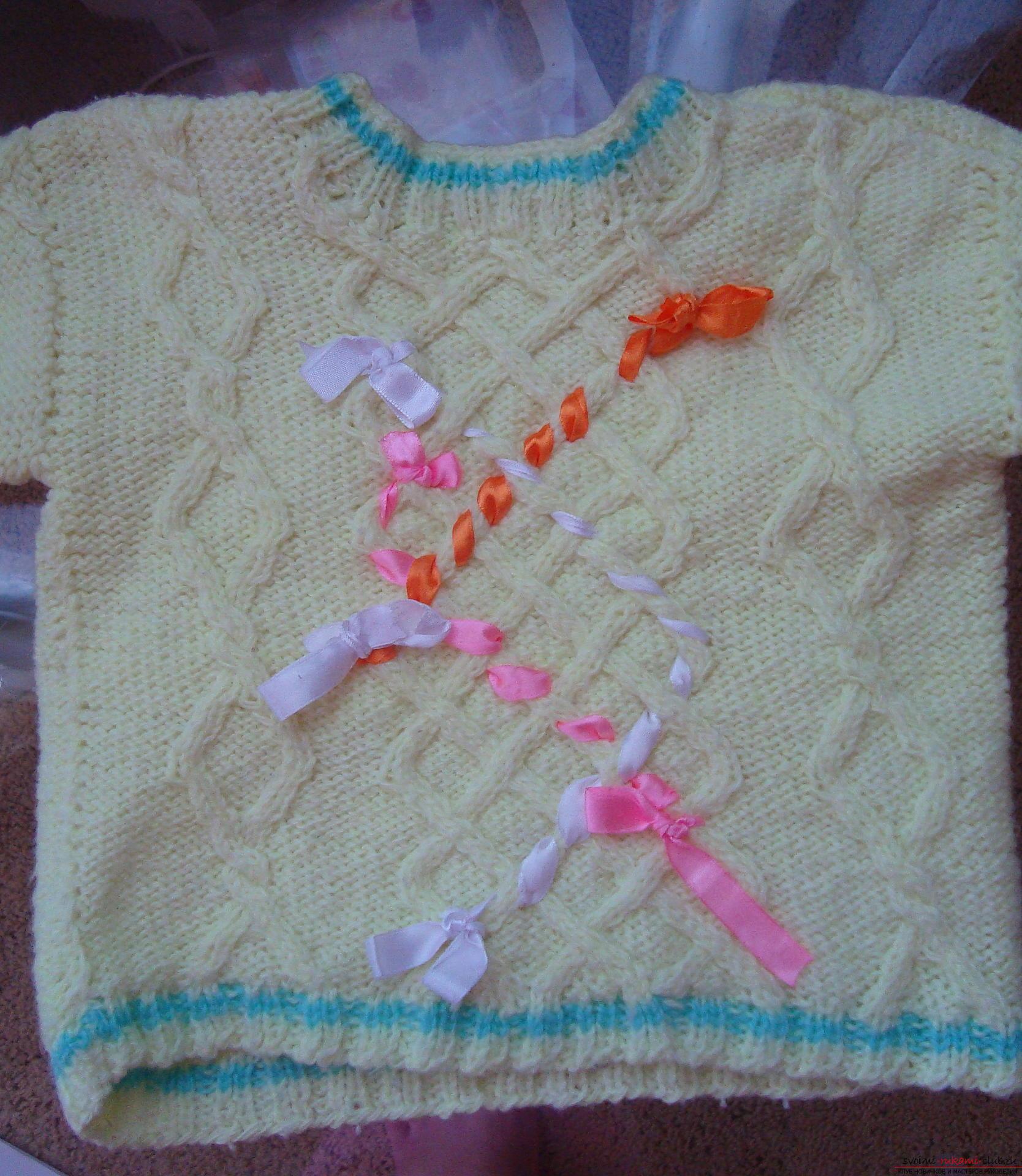 Пошаговая фото-инструкция по вязанию детского свитера на спицах. Фото №3