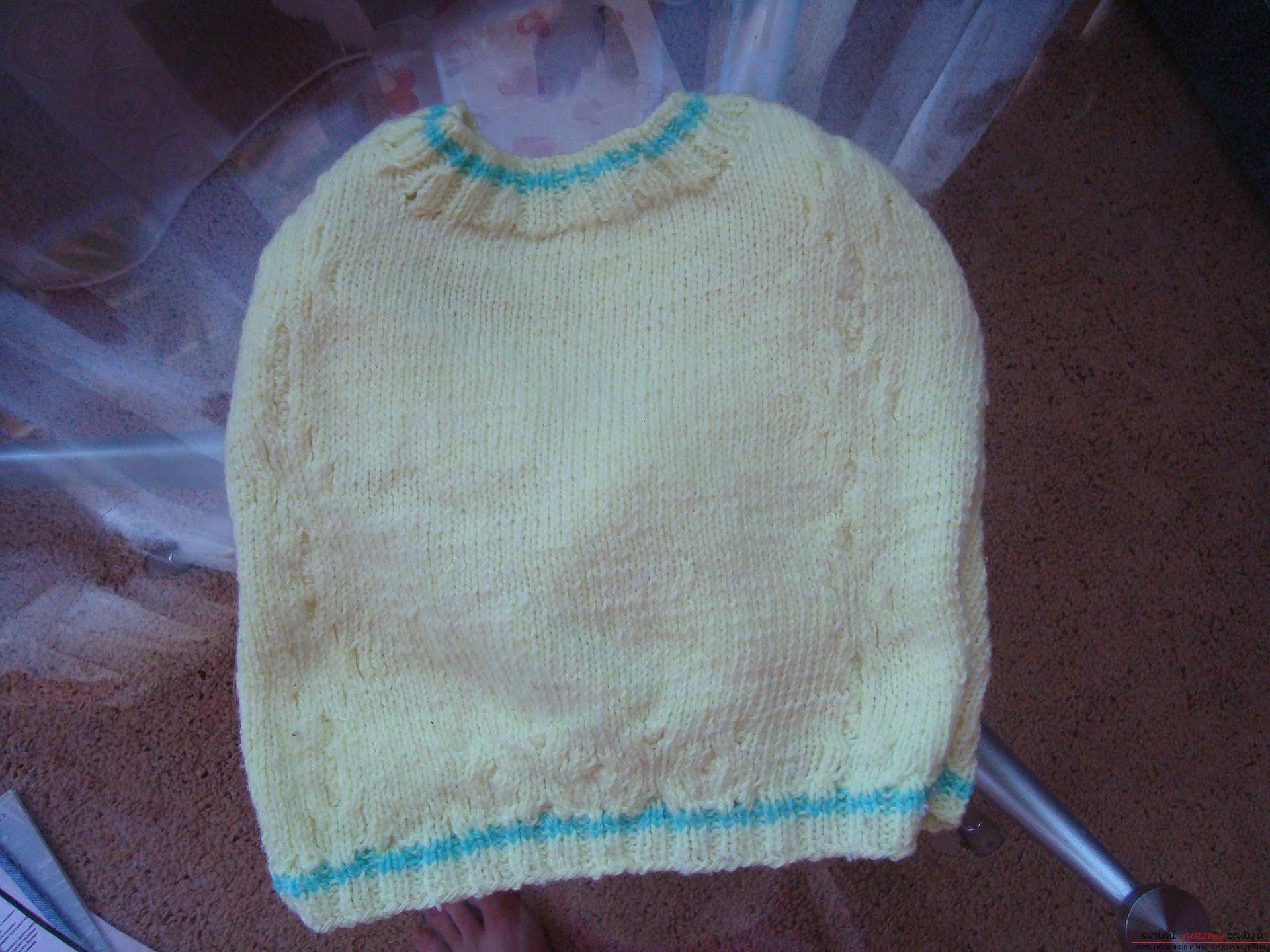 Пошаговая фото-инструкция по вязанию детского свитера на спицах. Фото №6