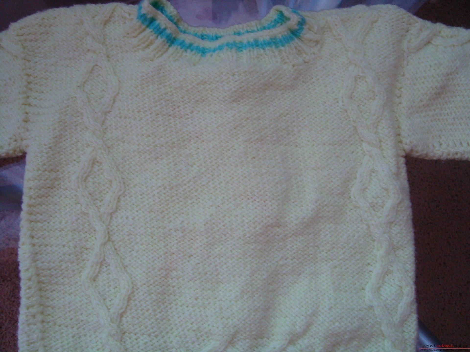 Пошаговая фото-инструкция по вязанию детского свитера на спицах. Фото №7