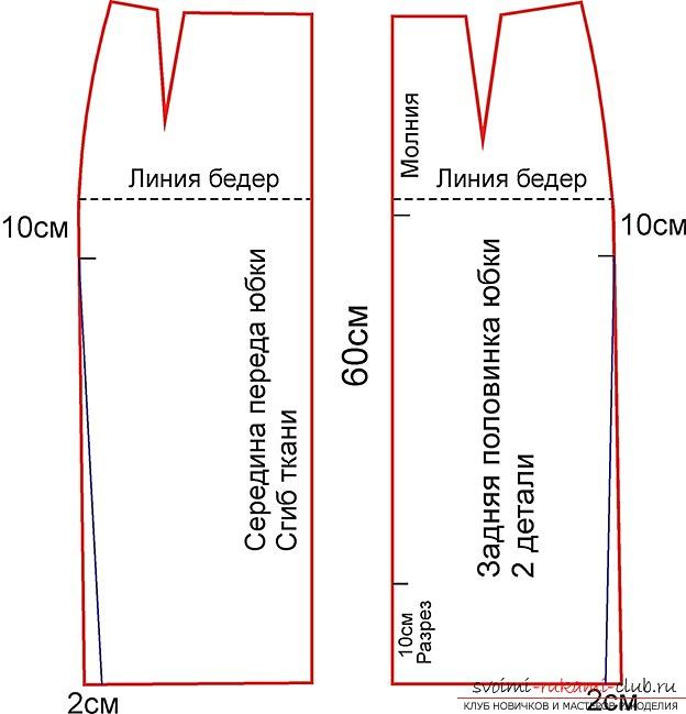 Сшить юбку средней длины