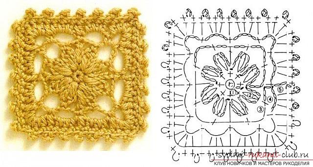Вязания крючком квадрата: простые схемы и инструкция. Фото №9
