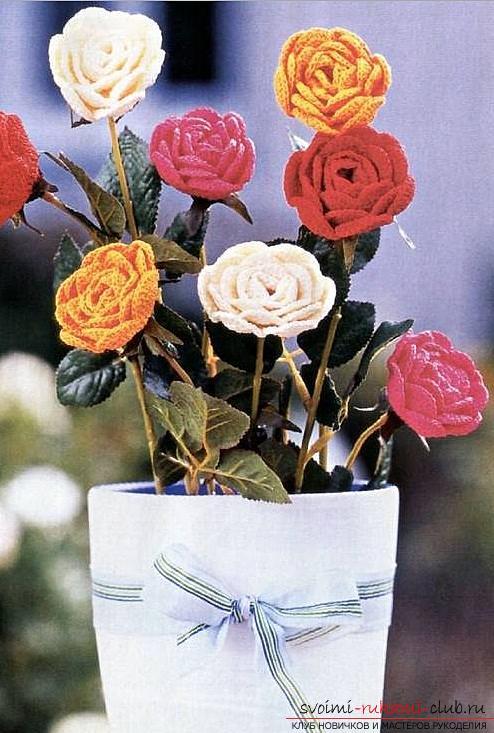Схемы и подробное описание, как связать объемную розу крючком своими руками.. Фото №6