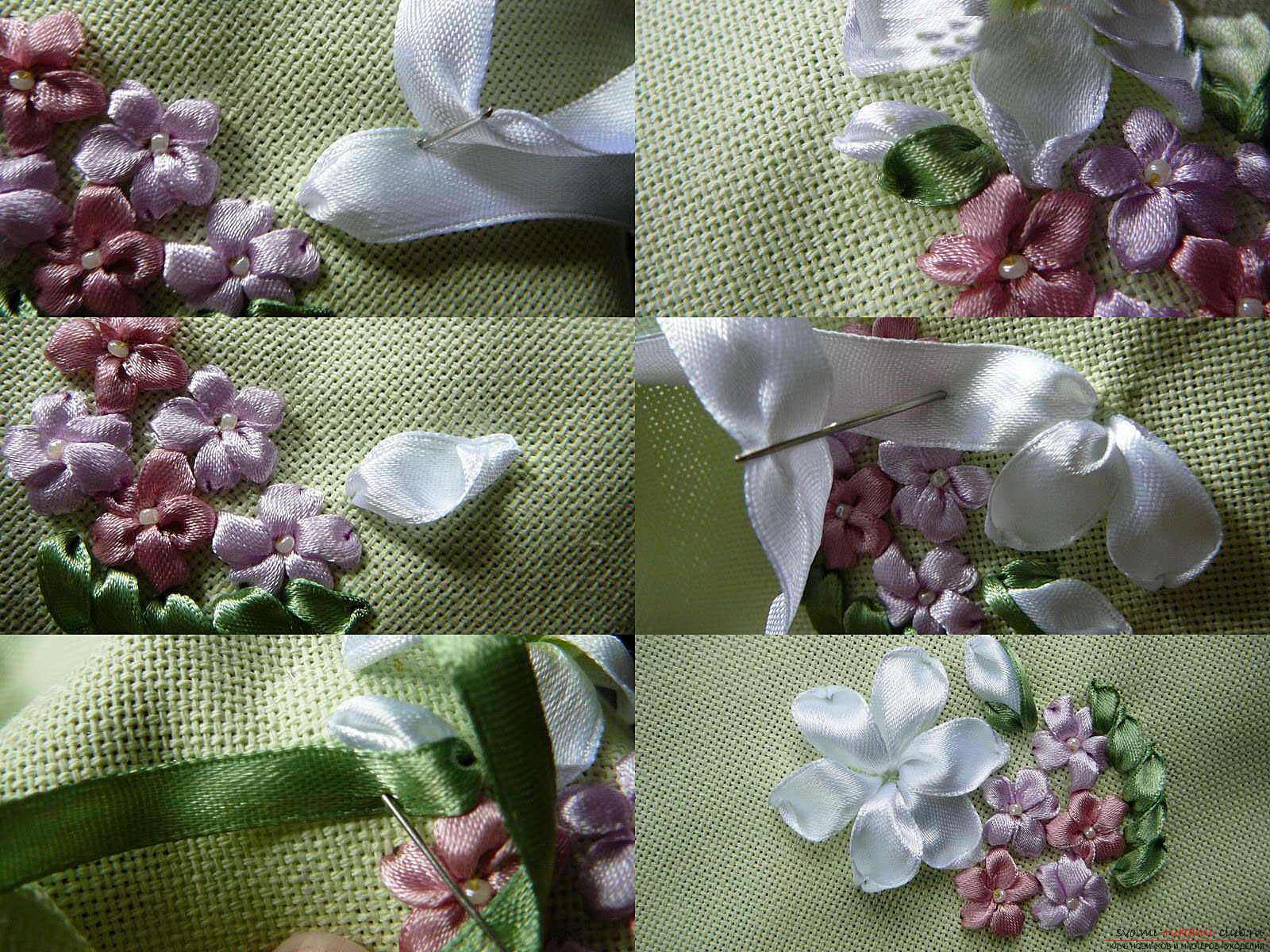 Вышивка лентами белых лилий. Фото №6