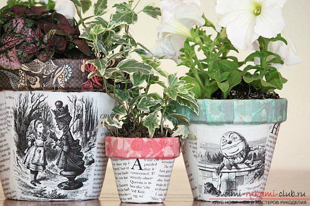 Декупаж горшка для цветов своими руками, декупаж цветочных горшков, мастер-класс. Фото №5