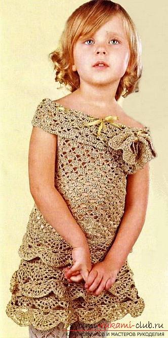 Как связать красивое платье для маленьких девочек своими руками крючком, схемы, описание, фото.. Фото №3