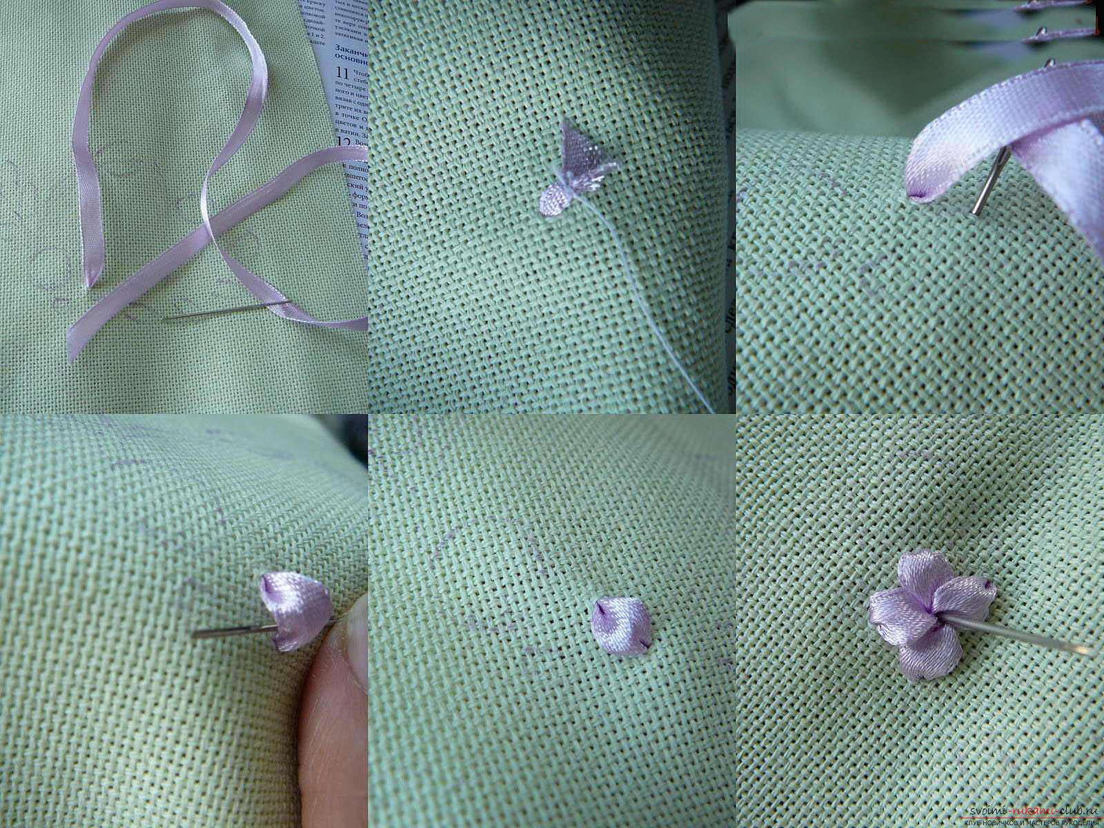 Вышивка лентами белых лилий. Фото №2