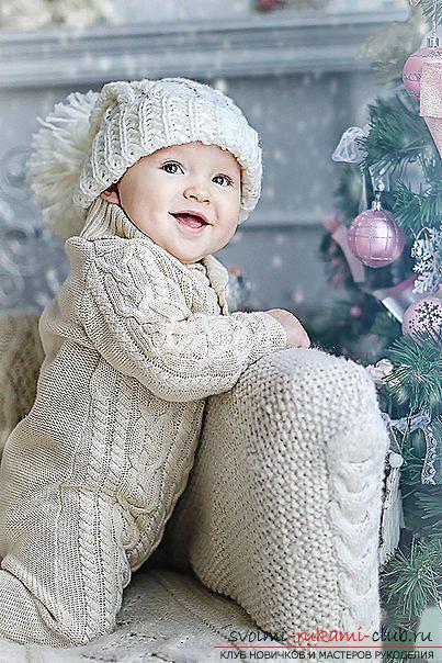 Красивая шапочка для новорожденного спицами