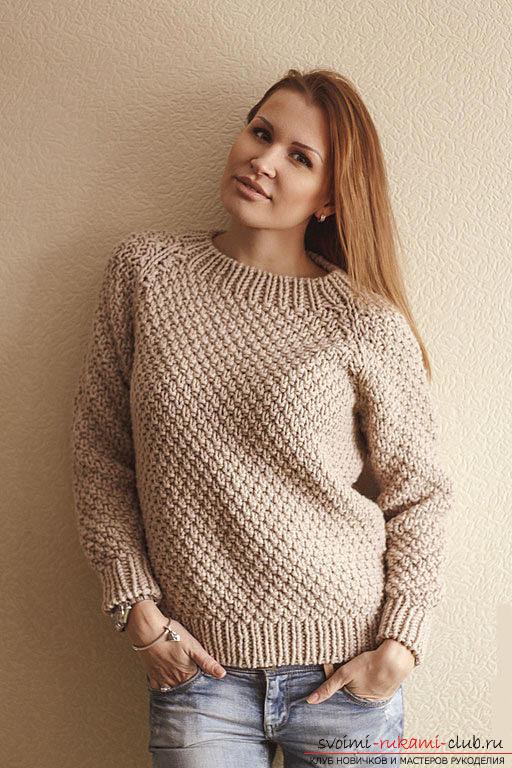 Вяжем свитер простым узором по схеме. Фото №3