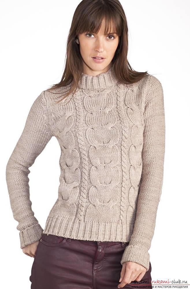 Как связать пуловер с узором коса. Фото №4