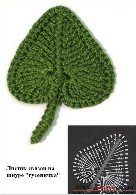 Схемы и подробное описание как связать крючком листья разных форматов.. Фото №11