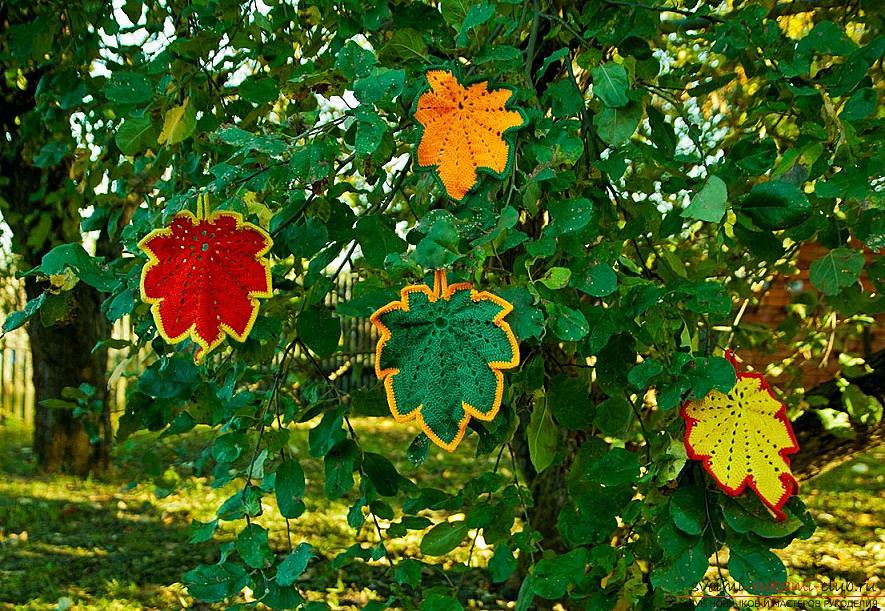 Схемы и подробное описание как связать крючком листья разных форматов.. Фото №4