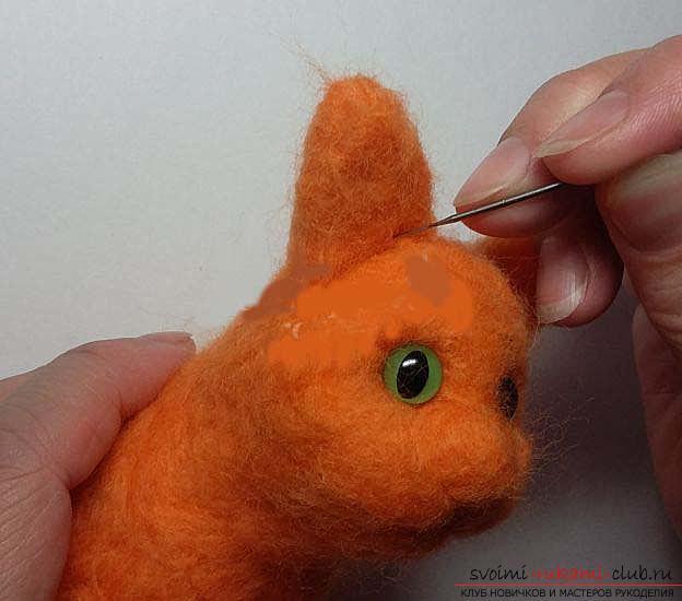 Как свалять красивого рыжего кота своими руками. Фото №5