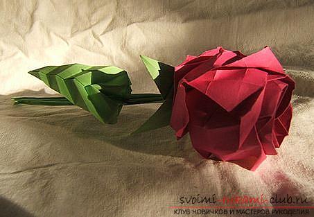 Роза-оригами для начинающих