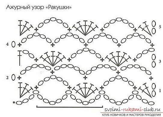 Ажурные узоры ракушка крючком схемы