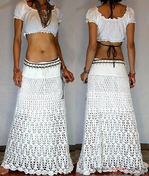 Нарядная белая юбка крючком. Фото №5