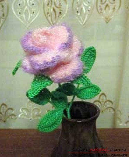 Схемы и подробное описание, как связать объемную розу крючком своими руками.. Фото №8