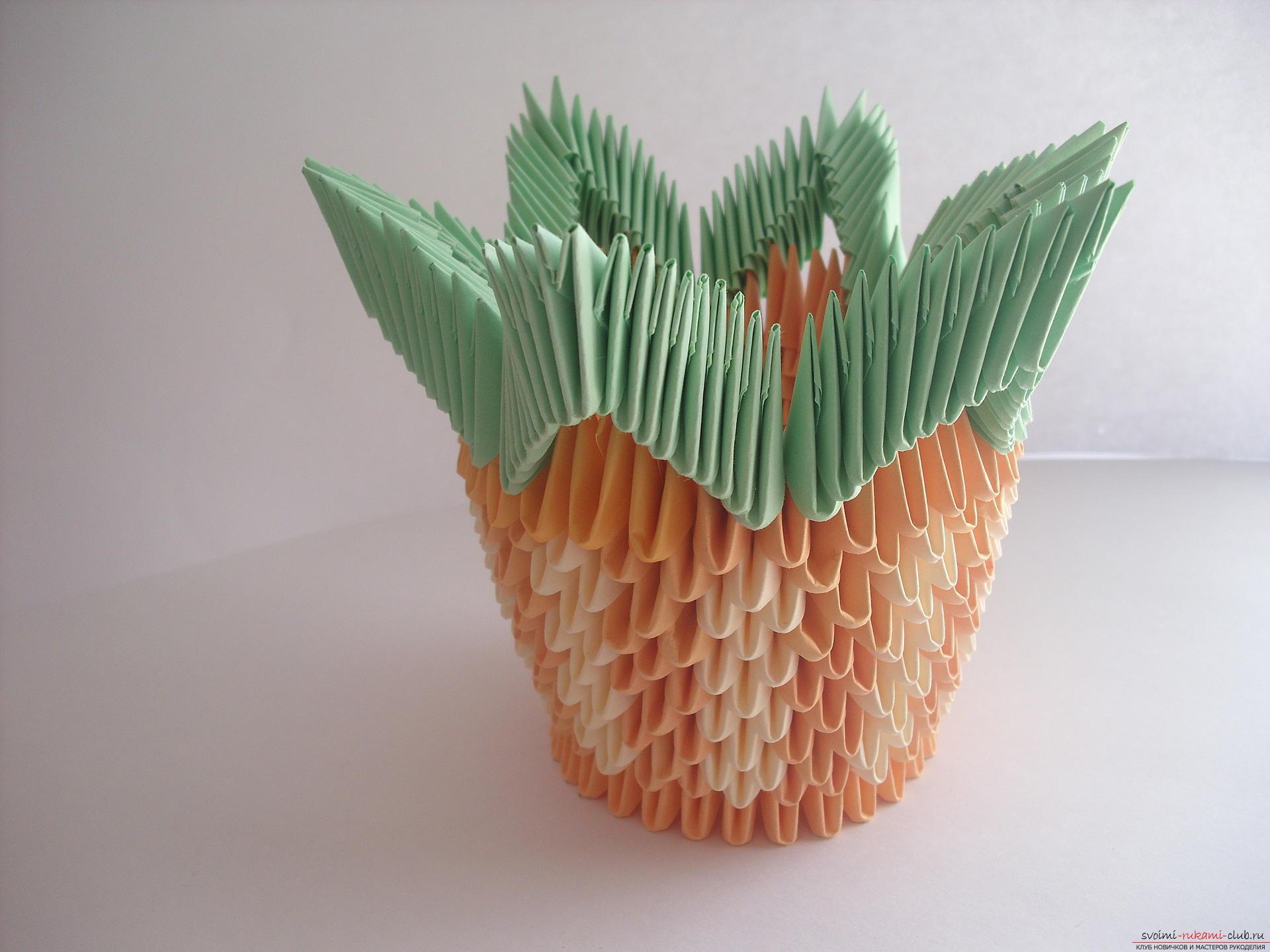 Модульное оригами вазы и как ее сделать