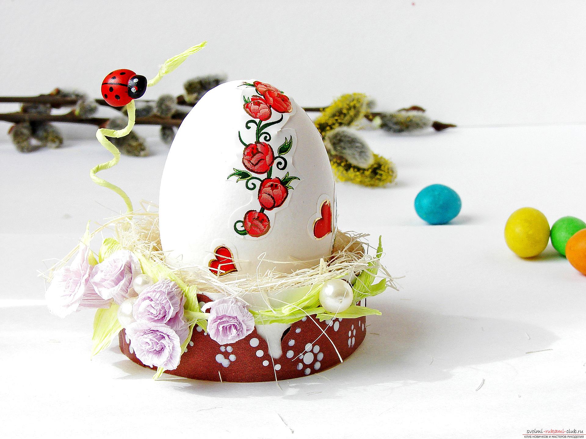 Этот подробный мастер-класс с фото и описанием научит как сделать подставки для пасхальных яиц своими руками.. Фото №1