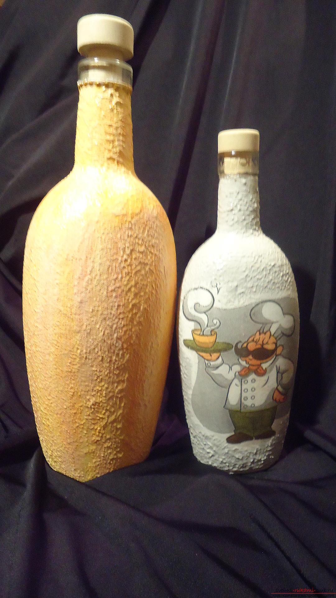 Декупаж бутылок на новый год пошагово