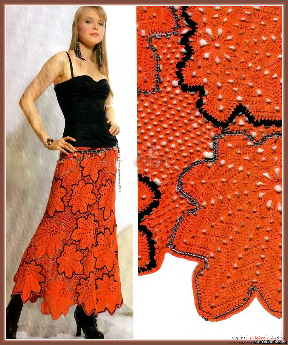 вязаная крючком модная ажурная юбка для лета. Фото №1
