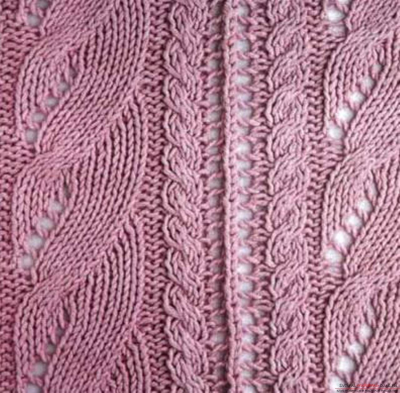 Вязание спицами оригинальных ажурных узоров. Подробные ...