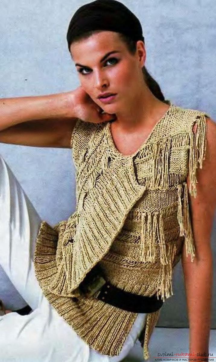 вязание спицами жилетка женская
