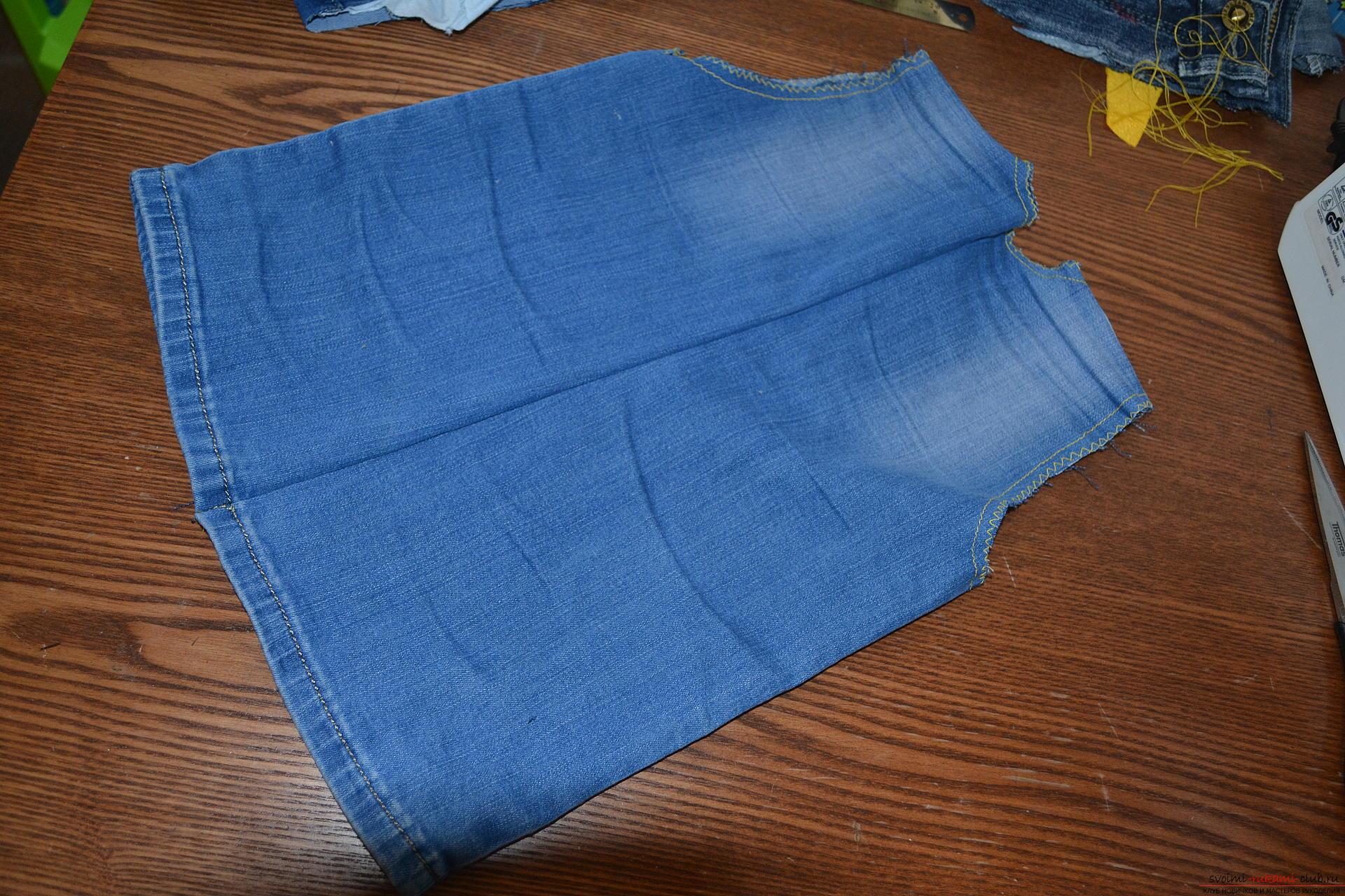 Этот подробный мастер-класс с фото и описанием посвящен описанию выкройки жилета из старых джинс.. Фото №7
