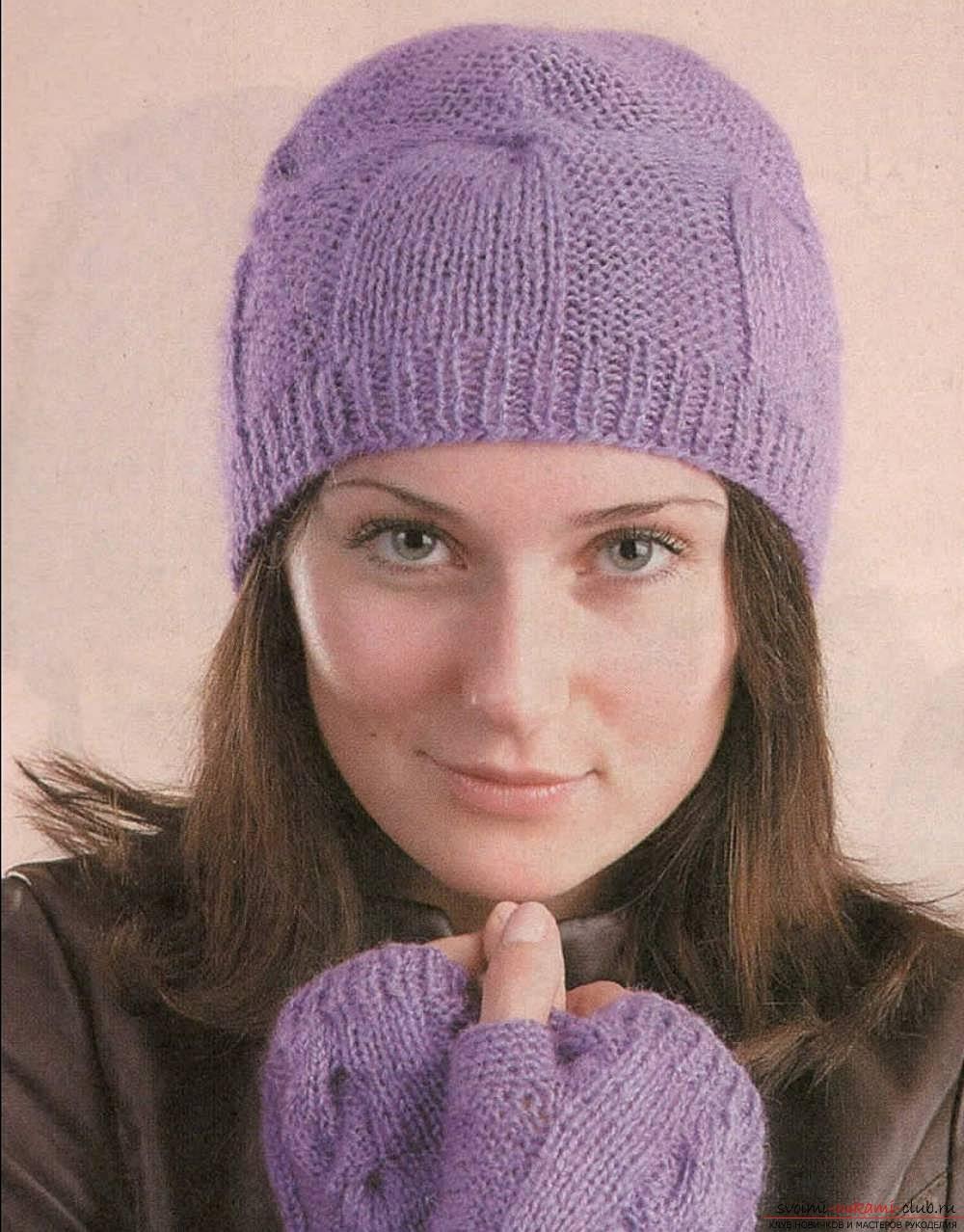 Универсальная шапка на спицах. Фото №5