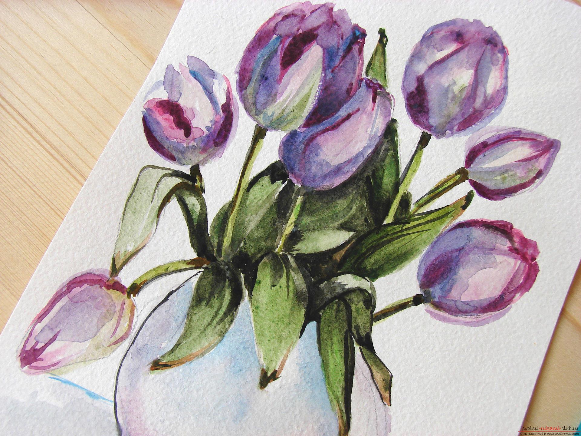 Мастер-класс по рисованию с фото научит как нарисовать цветы, подробно описав как рисуются тюльпаны поэтапно.. Фото №24