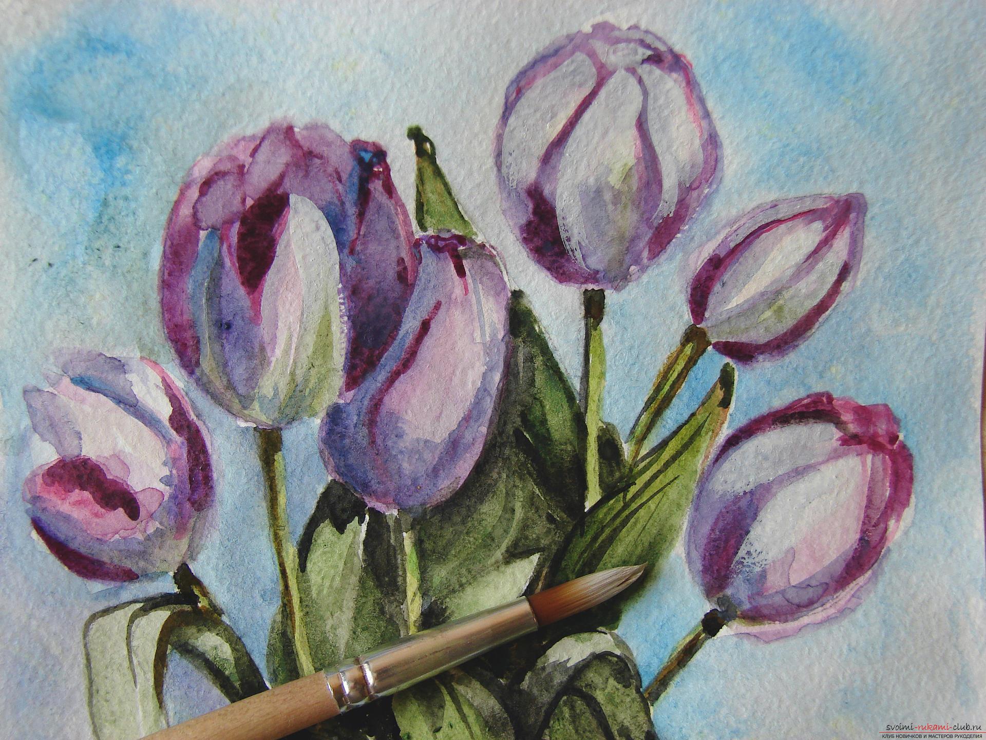 Мастер-класс по рисованию с фото научит как нарисовать цветы, подробно описав как рисуются тюльпаны поэтапно.. Фото №26