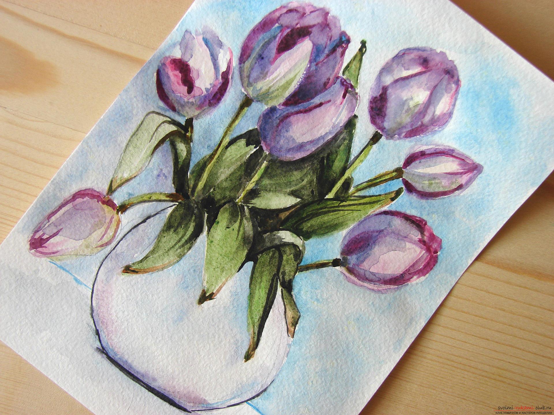 Мастер-класс по рисованию с фото научит как нарисовать цветы, подробно описав как рисуются тюльпаны поэтапно.. Фото №25