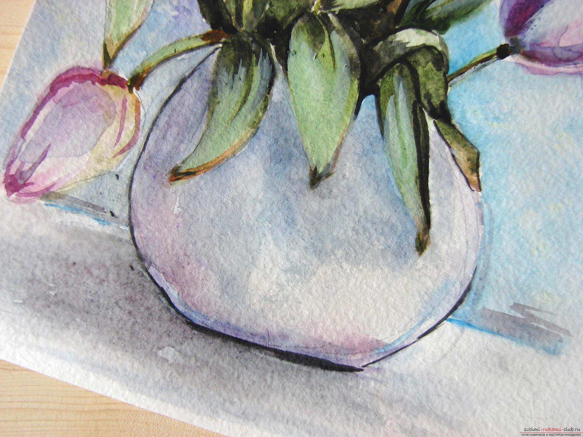 Мастер-класс по рисованию с фото научит как нарисовать цветы, подробно описав как рисуются тюльпаны поэтапно.. Фото №27