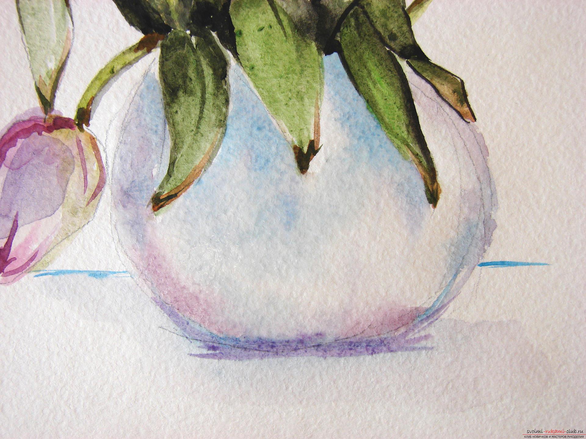 Мастер-класс по рисованию с фото научит как нарисовать цветы, подробно описав как рисуются тюльпаны поэтапно.. Фото №22
