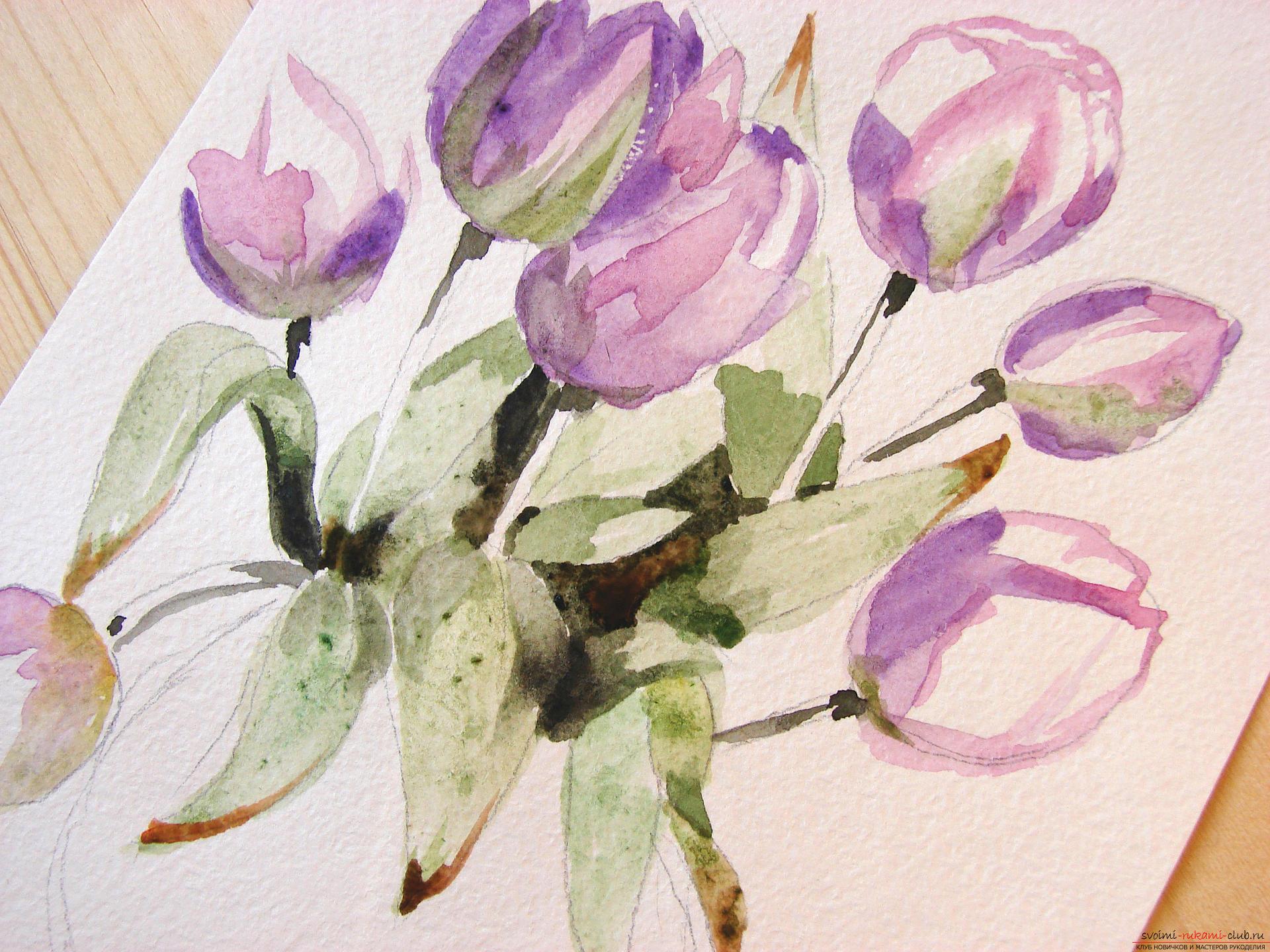 Мастер-класс по рисованию с фото научит как нарисовать цветы, подробно описав как рисуются тюльпаны поэтапно.. Фото №10