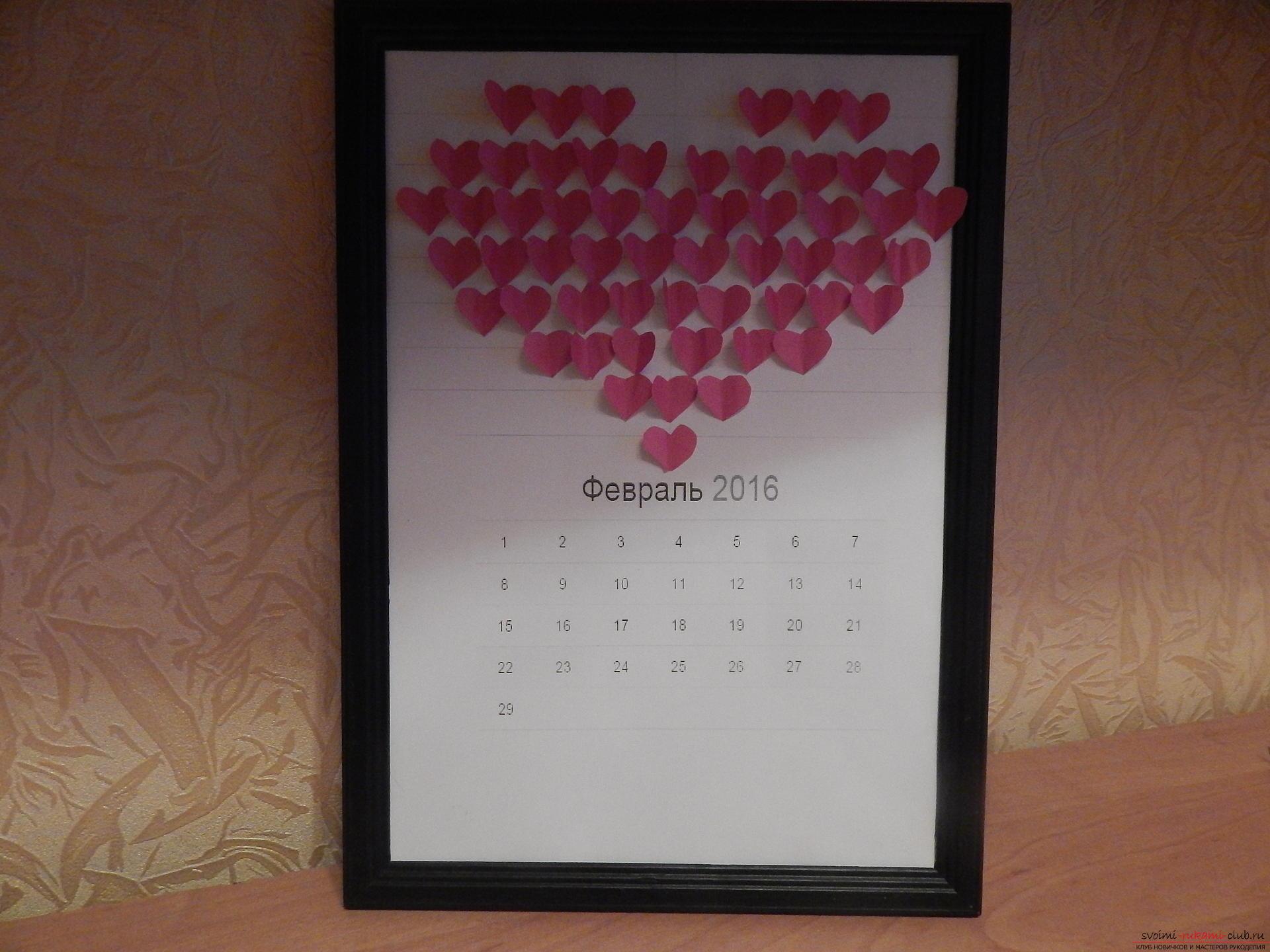 Этот подробный мастер-класс научит как сделать своими руками календарь - подарок на День влюбленных. Фото №14