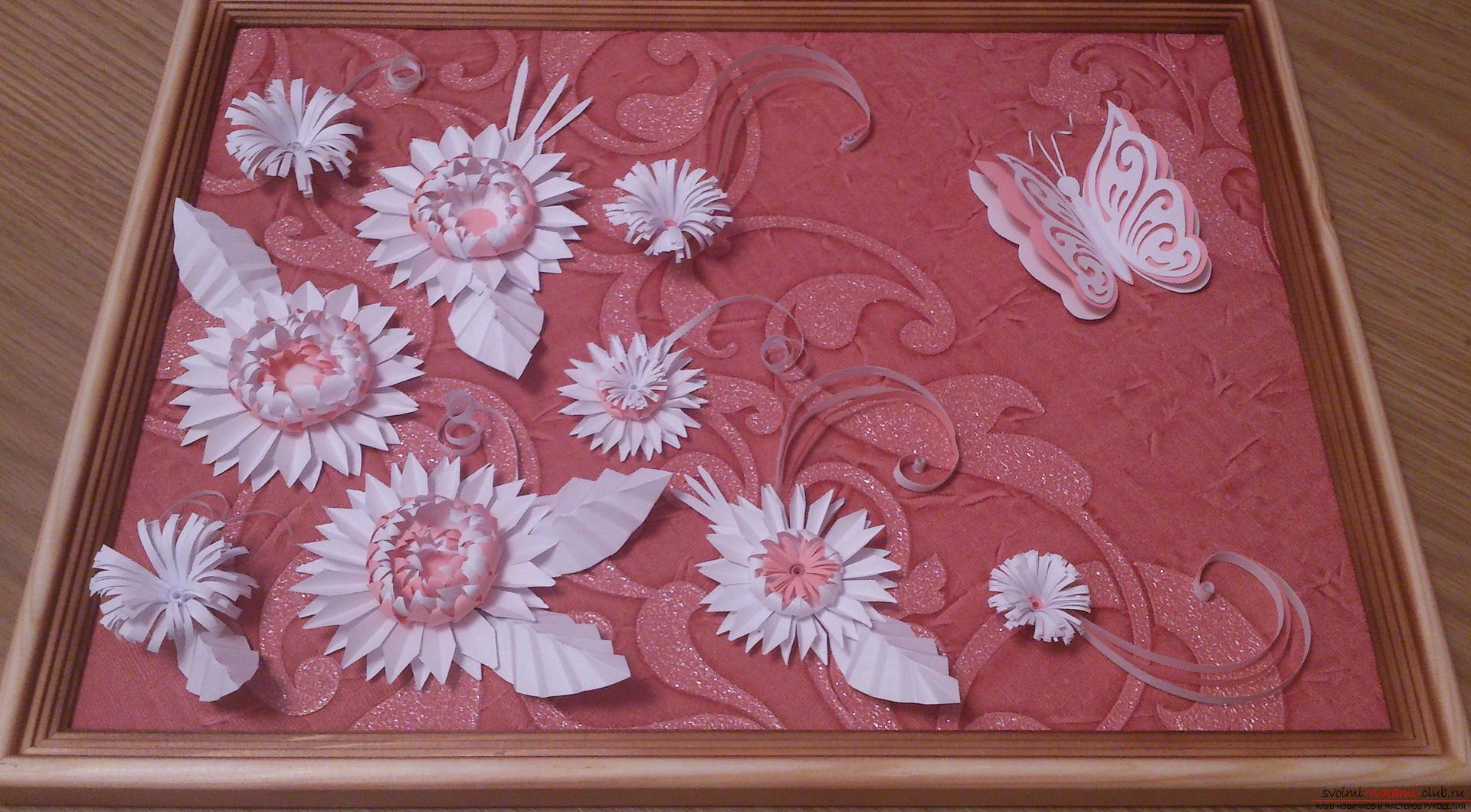 Поделки в технике бумагопластики очень разнообразны, предлагаем сделать картину из цветов, а цветы из бумаги изготовим своими руками.. Фото №29