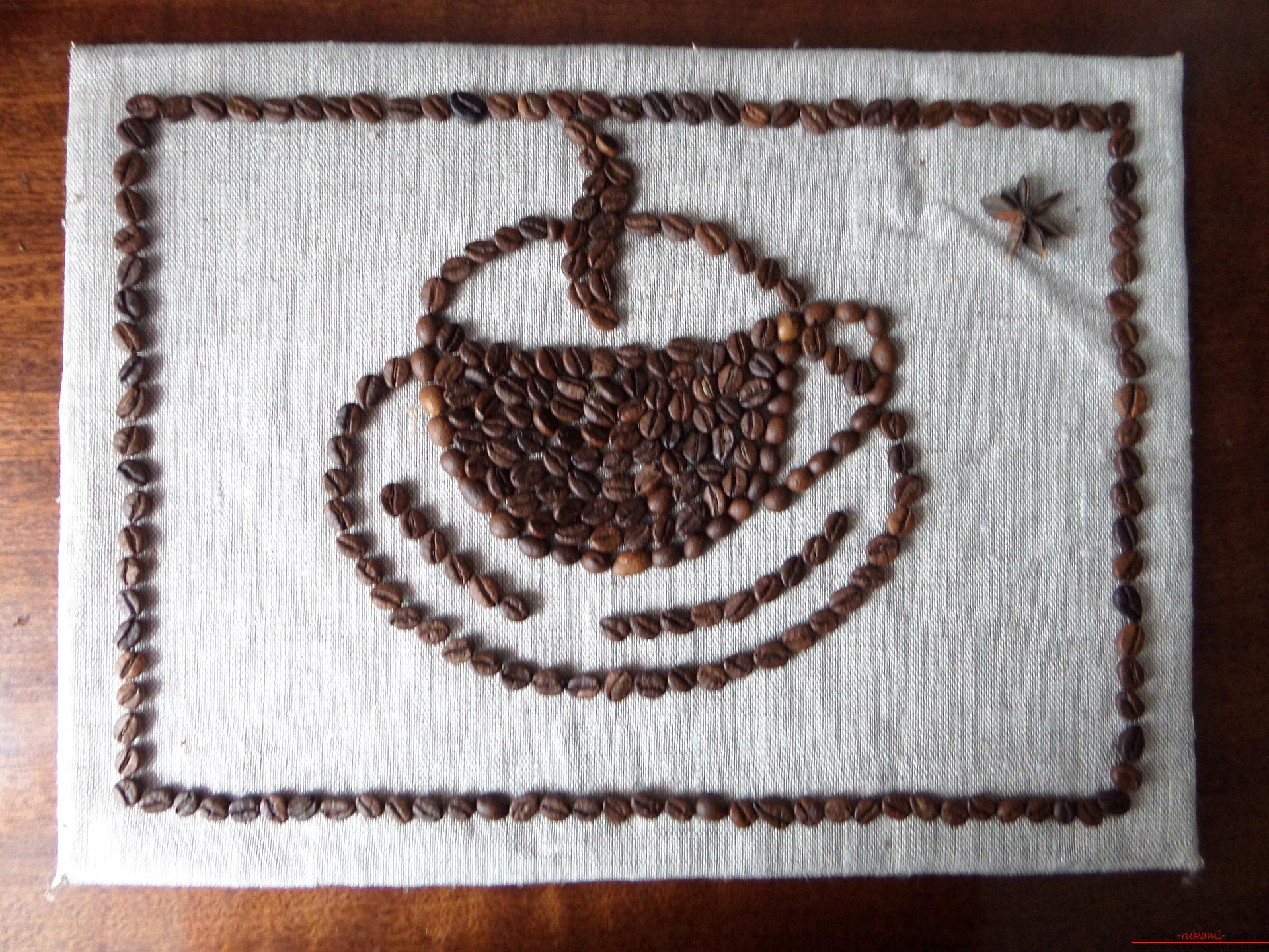 жизнь джон, рисунок из зерен кофе на бумаге несоответствие