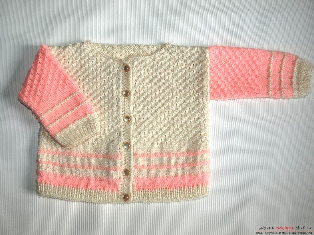 Вязание детской кофточки спицами. Схема и фото для начинающих рукодельниц. Фото №5