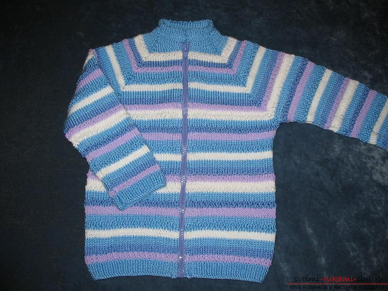 Вязание детской кофточки спицами. Схема и фото для начинающих рукодельниц. Фото №2