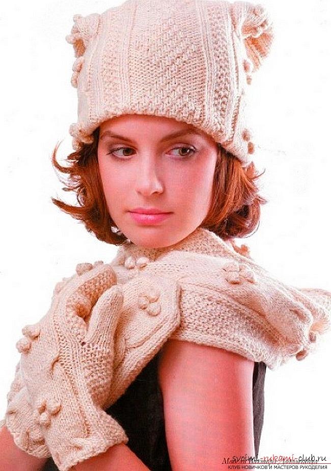 вязаная спицами женская шапка. Фото №2