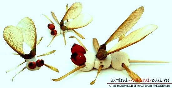 Создаём красивого комара из желудей и пластилина для декора своими руками