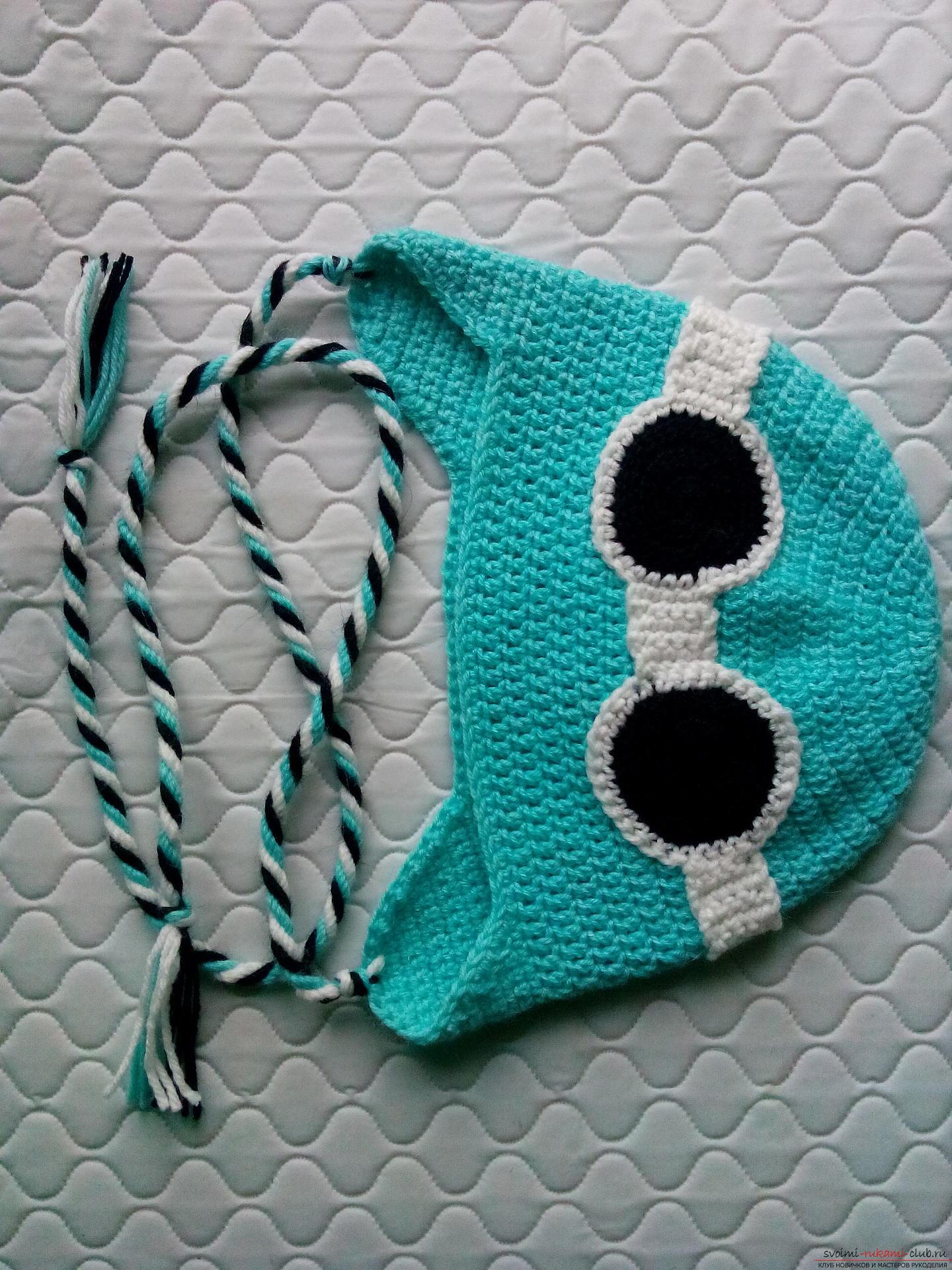 Пошаговое описание и фото вязания крючком комплекта для мальчика из шапочки и шарфа. Фото №14