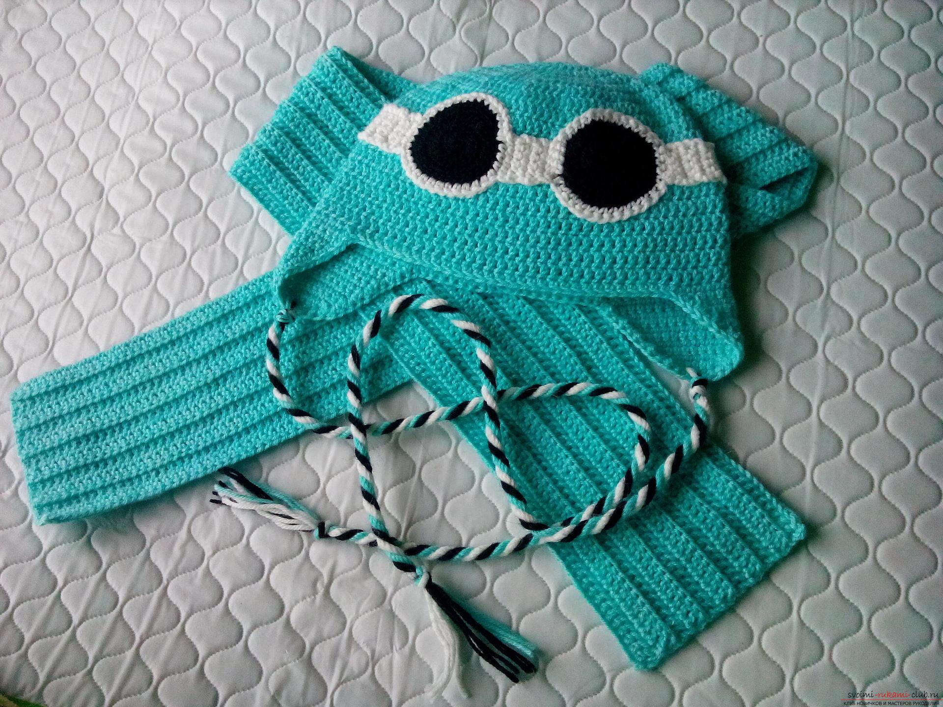 Пошаговое описание и фото вязания крючком комплекта для мальчика из шапочки и шарфа. Фото №19
