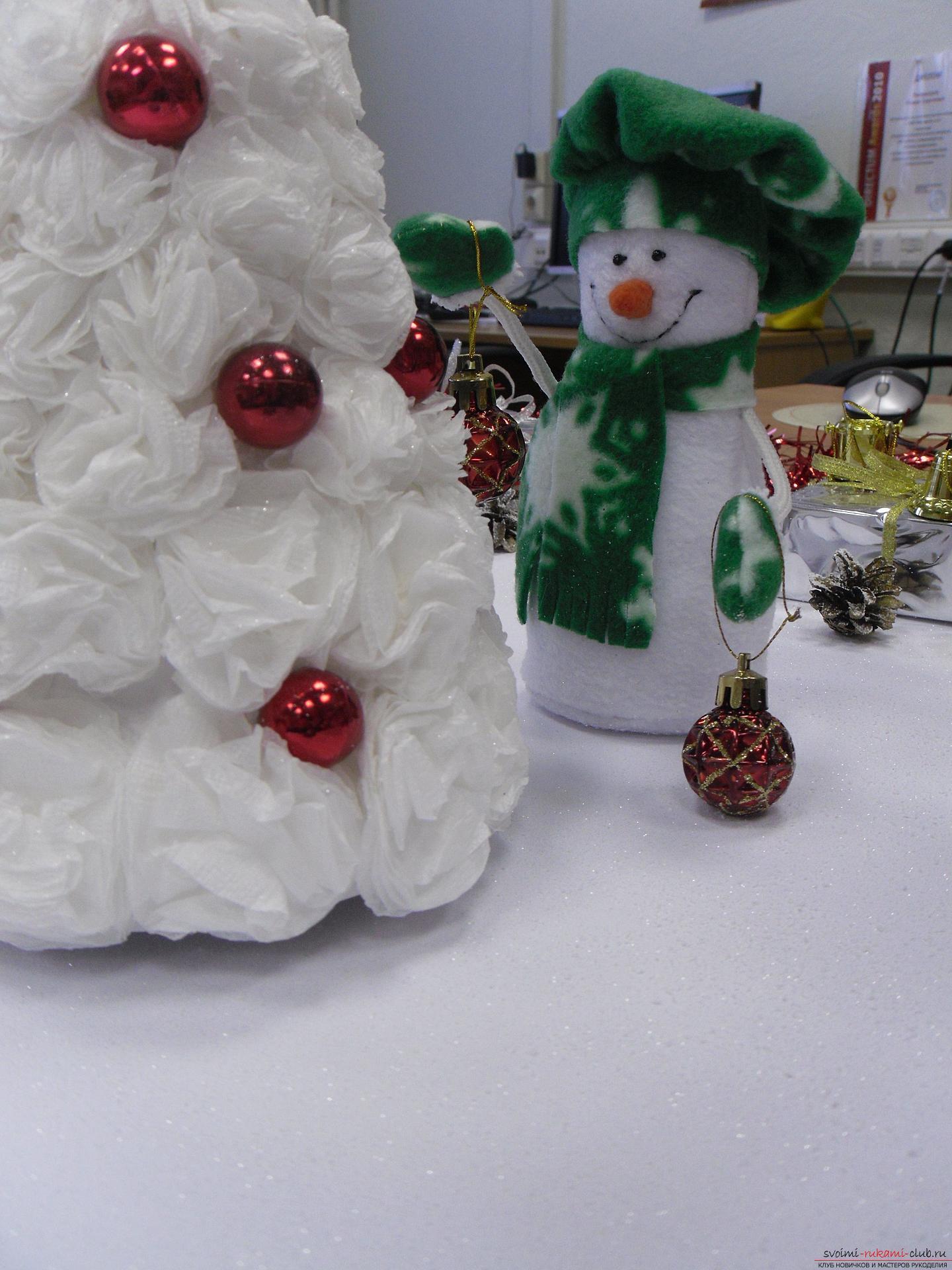Снеговики из фетра помогут создать новогоднюю обстановку в каждом доме. Поделка на Новый год может быть не купленной в магазине, украшение к новогоднему столу можно сделать своими руками.. Фото №5