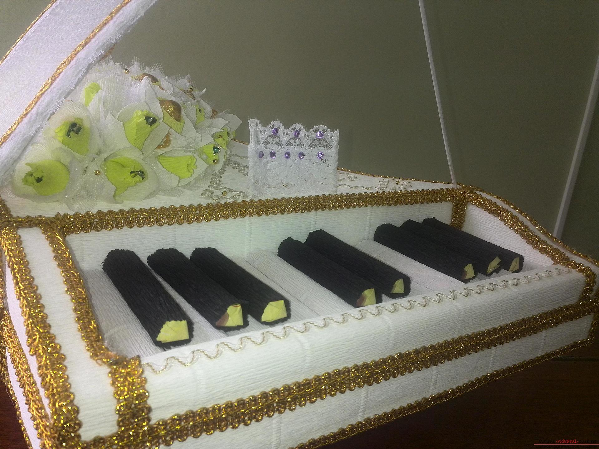 Мастер-класс: рояль из конфет. Фото №33