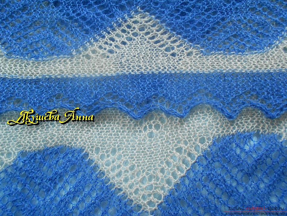 Вязание платков спицами с фото 103